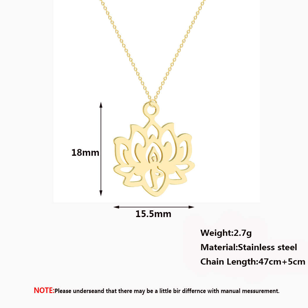 QIMING Yoga Lotus Pendant Necklace Women Stainless Steel Jewelry Buddhism Water Lily Indian Vintage Boho Necklaces Female