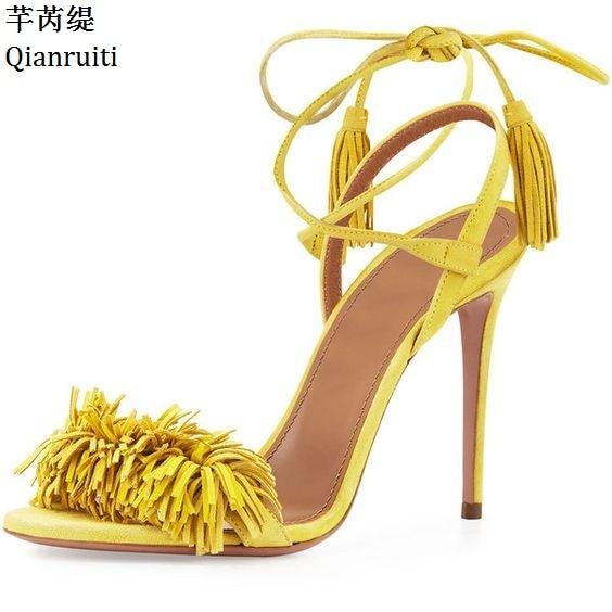 Qianruiti Yellow Red Suede Lace-Up Women Pumps Rome Style Fringe High Heels Women Sandals Cross-tied Stiletto Heels Women Shoes недорго, оригинальная цена