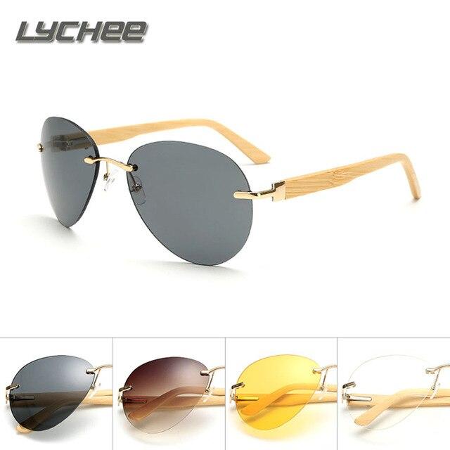 LYCHEE 2017 new Men's new bamboo foot multi-color sunglasses wood glasses driving shade sunglasses fashion sunglasses