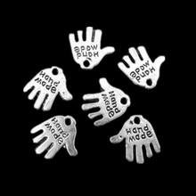 Free Shipping 50Pcs Silver Tone Carvd  Hand Made Thenar Palm Pendants Jewelry Charms 11x12mm