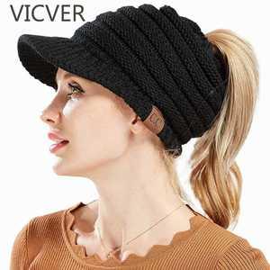 CC Ponytail Beanies Winter Hats For Women Knitted Warm Cap Messy Bun Beanie  Hat Autumn Soft Knit Caps Trendy Crochet Woolen Hats 3a755ec3421d