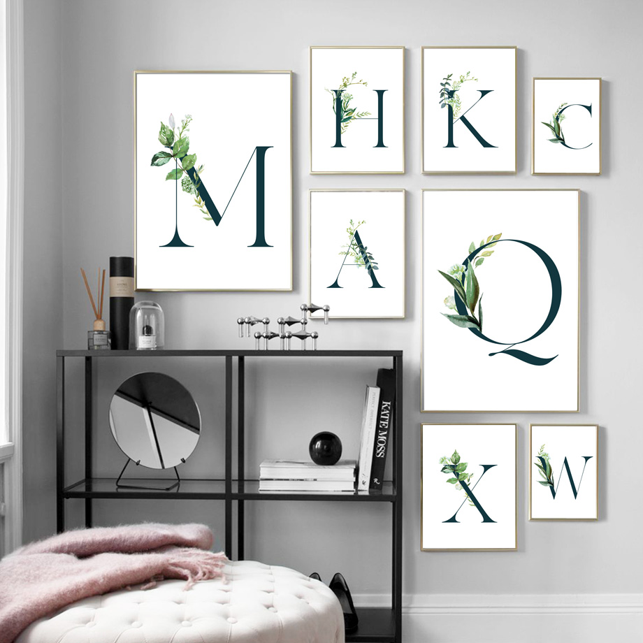 Green Plants Alphabet Quotes Landscape Wall Art Canvas Painting Nordic Posters And Prints Wall Pictures For Living Room Decor