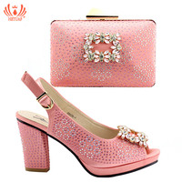 Pink Color African PU Leather Shoes And Bag Matching Set With Stones Shoes Women Italian High Heels Sandals For Party Wedding