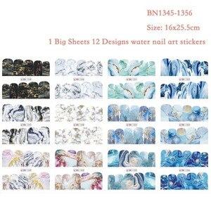 Image 2 - 12 デザイン大理石の質感ネイルステッカー水デカールグレーブルーマーブルシリーズネイルのヒントマニキュアフルラップ装飾 BN1345 1356