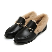 Size 35-40 Real Leather Winter Luxury Womens Leather Loafers Rabbit Fur Furry Leather Shoes Flats Boat Shoes Black Gray 2016