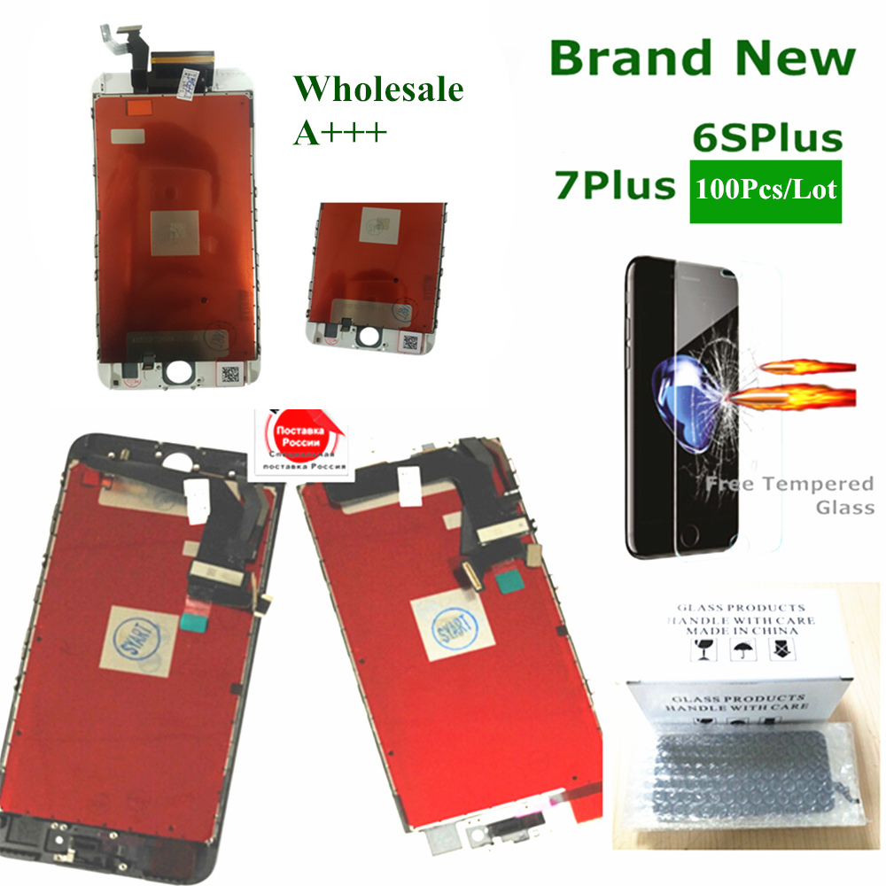 Digitizer 100pcs Lcd-Screen-Display iPhone for with Tempered-Glass Black-Color Black-Color
