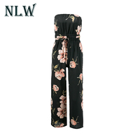 Lily Rosie Girl Women Jumpsuits Sexy Off Shoulder Backless Floral Print Strapless Playsuits With Belts