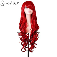 Similler 32 Women Long Hair High Temperature Fiber Curly Cosplay Wig Costume Red Green Blue Black