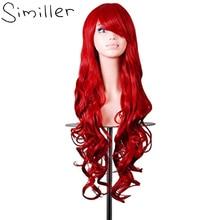 """Similler 32 """"Женщины Длинные волосы высокая температура волокна Вьющиеся косплей костюм красный зеленый синий черный фиолетовый серый"""