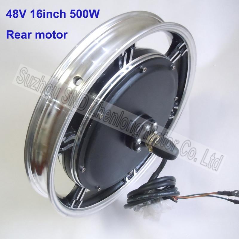E bike 16inch 48v 500w brushless rear hub motor electric for 500w hub motor kit