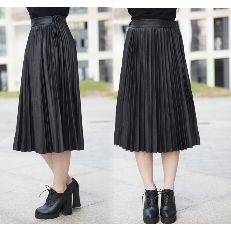 2017 new fashion PU leather pleated skirt gold mental color black - Women's Clothing - Photo 2