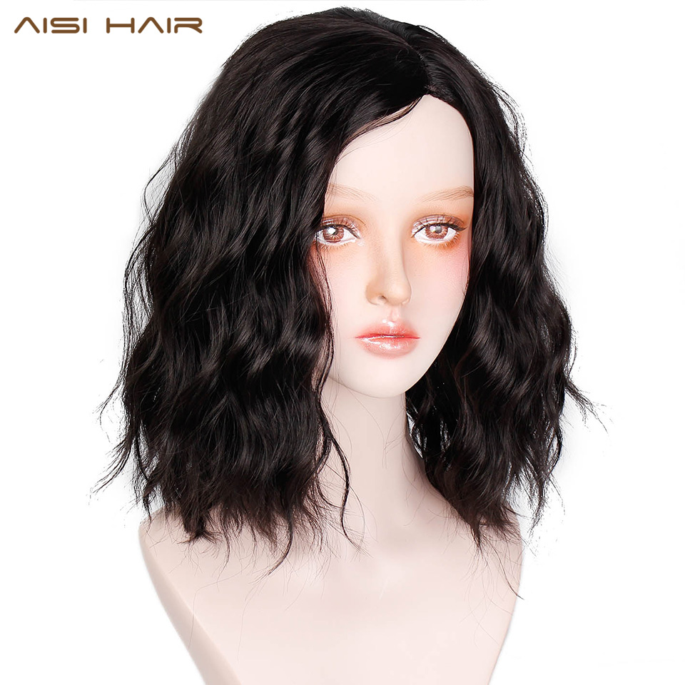 AISI HAIR 14 Inch Short Wavy Black Synthetic Hair With Bangs Heat Resisitant Hair For Women Can Be Cosplay