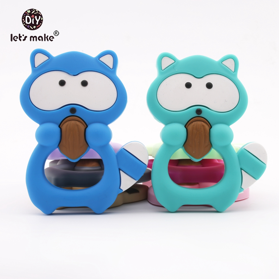 Let's make 2Pcs Silicone Teether Food Grade Teething Baby Raccoon Cute Necklace
