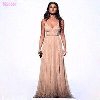 Selena Gomez Champagne Crepe V Neck Pleats Split Back Cross Long Red Carpet Dress Celebrity Dresses
