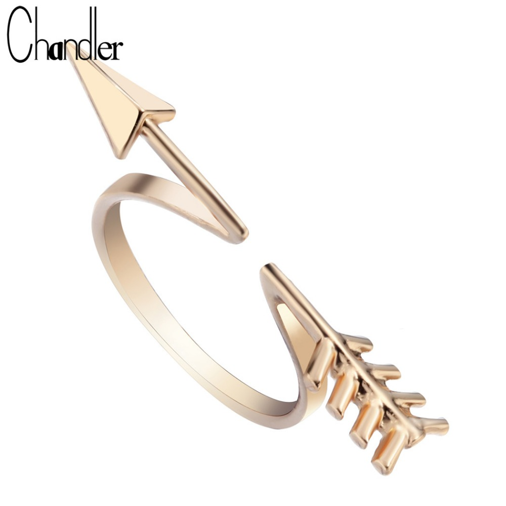 Chandler Gold Silver Plated Arrow Finger Rings For Women Romantic Punk Boho Accessaries Open Love Midi