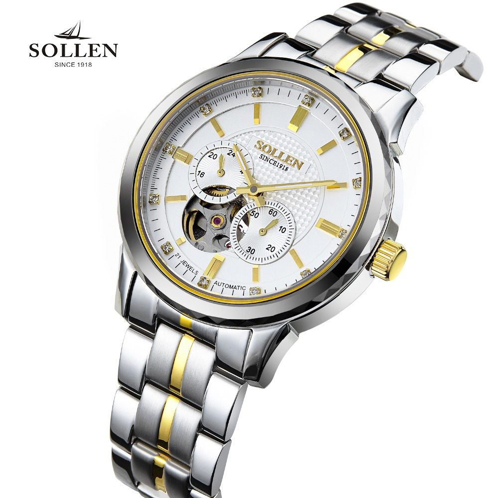 все цены на SOLLEN Top Brand montres Mechanical Watch Men Sport Gold Clock Mens fashion Calendar Automatic Wristwatch hollow Tourbillon 9005 в интернете