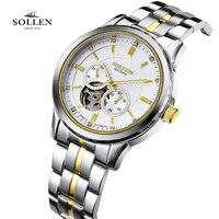 SOLLEN Top Brand montres Mechanical Watch Men Sport Gold Clock Mens fashion Calendar Automatic Wristwatch hollow Tourbillon 9005
