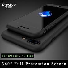 IPaky ультра тонкий 360 Полный для iPhone 7 Чехол + закаленное стекло Экран протектор для iPhone 7 Plus чехол всего тела Чехол для iPhone 7