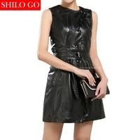 Fashion Women High Quality Sheepskin Round Collar Leather Button Belt Slim Sleeveless A Line Black Genuine