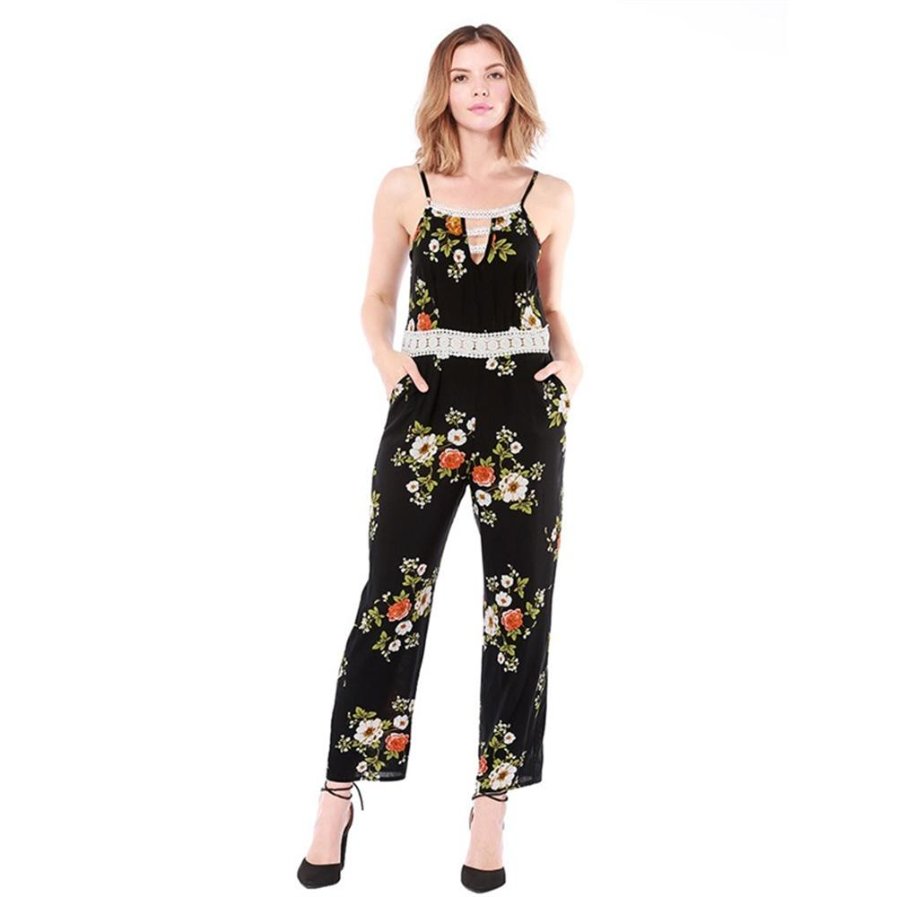 2018 floral printed women summer jumpsuits bohemian sling romper long playsuits female elegant lace patchwork loose bodysuits