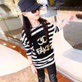 Hot sale 2016 spring Casual girls clothes cotton girls stripe long sleeve cartoon  printed T-shirts  girl  sweatshirts