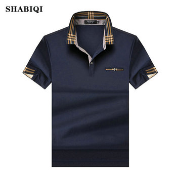 SHABIQ 2019 Brand Fashion Classic Men Polo Shirt Summer Short Sleeve Polos Mens Solid Cotton Plus Size S-10XL!