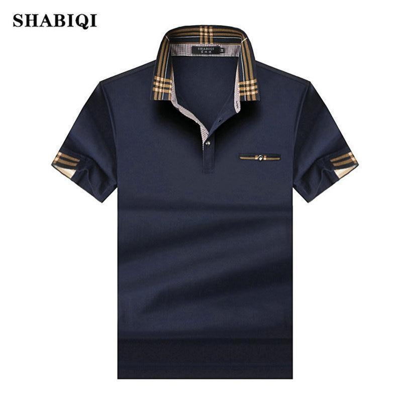 SHABIQ 2019 Brand Fashion Classic Men Polo Shirt Summer Short Sleeve Polos Shirt Mens Solid Shirt Cotton Shirt Plus Size S-10XL!