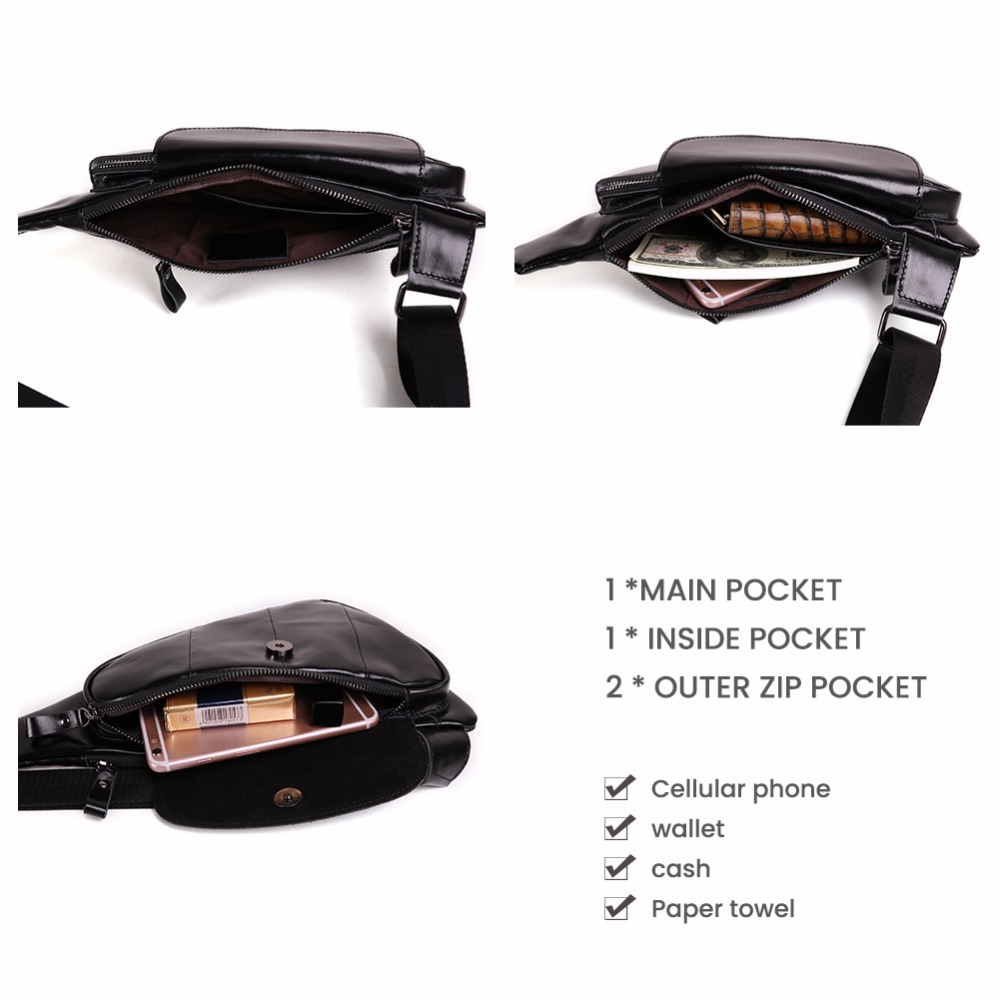 Image 3 - JOYIR Men Triangle Cow Leather Shoulder Bag Travel Genuine Leather Chest Bag Strap Sling Casual Chest Pack Crossbody Bag for Men-in Waist Packs from Luggage & Bags