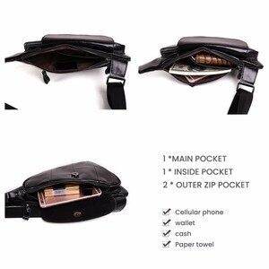 Image 3 - Joyir Mannen Driehoek Koe Lederen Schoudertas Reizen Lederen Borst Bag Strap Sling Casual Borst Pakken Crossbody Tas Voor mannen