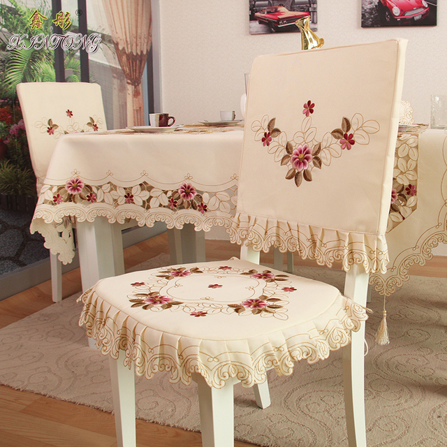 TY218 Fashion embroidered rustic dining table fabric chair cover ...
