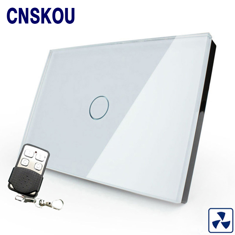 Cnskou US standard wireless remote control fan touch switch white crystal glass panel wall smart touch sensor switch