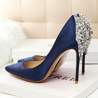 BIGTREE SALE Elegant Pumps Star Rhinestone Satin High Heels Shoes Thin High heeled Pointed Shiny Party Wedding Shoes G1510 2