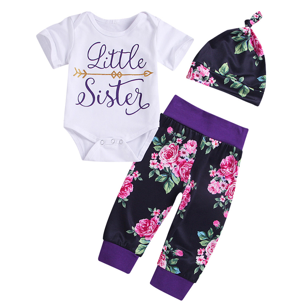 AmzBarley Baby girls clothes set Cotton T shirts pant Newborn Tops Trousers hat 3pcs set infant summer clothes for 6M 24M in Clothing Sets from Mother Kids