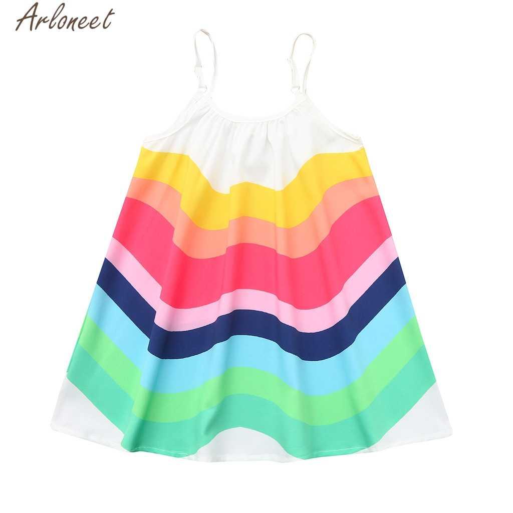 ARLONEET קיץ פעוט תינוק בנות ללא שרוולים קשת הדפסת שמלת אפוד שמלות בגדי Elbise ילדה של בגדי 19Apr17 P35