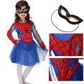 M ~ XL 2016 Fantasia Super Aranha Menina Crianças Spiderman Cosplay Hallowean Partido Do Disfarce Crianças Herói Presente de Aniversário Traje Vestido