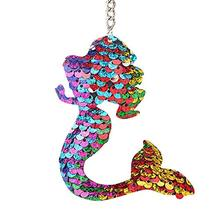METABLE 3PCS Sequins Mermaid Tail Keychain Charms Paillette Pendants Fish Keyring Diy Jewelry Colorful