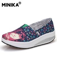 Minika Brand 2017 Shoes Woman Summer Popular Canvas Women Casual Female Breathable Height Increasing Fashion Wedges
