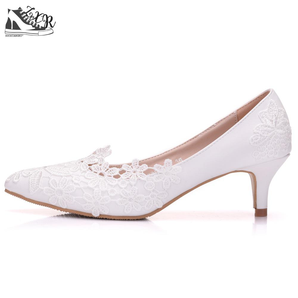 Zuoxiangru Women Elegant Simple Lace Flowers Wedding Shoes Female White 5cm High Heeled Bride Shoes Woman Plus Size 34-43 more colors custom handmade ivory lace wedding shoes for women high heeled size 9