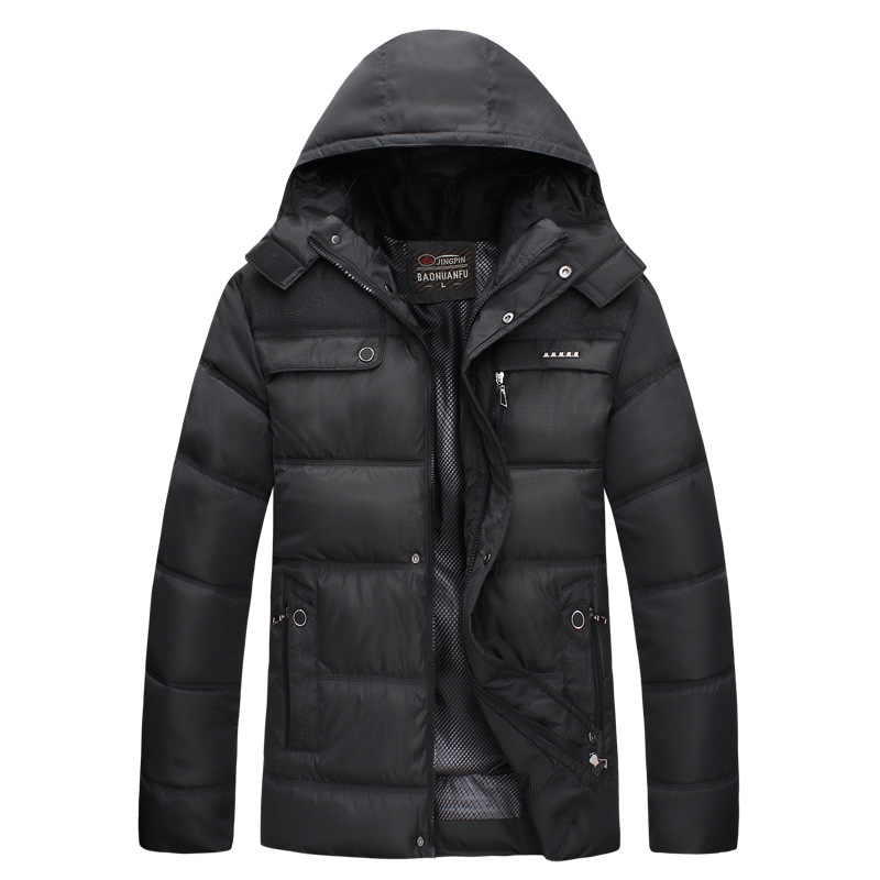New 2016 Men Winter Black Jacket Parka Warm Coat With Hood Mens Cotton Padded Jackets Coats Jaqueta Masculina Plus Size NSWT015