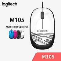 Logitech M105 Wired Mouse with Multi-color Portable Mouse Optional 1000dpi Cable for Mac OS/Windows PC/Laptop Office Home Using