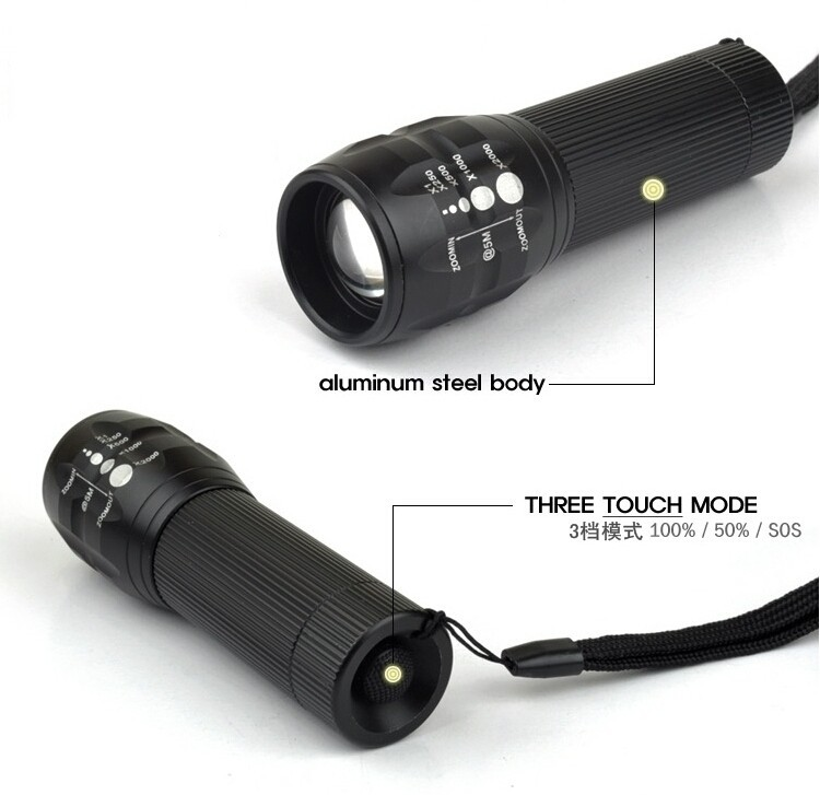 Ultra Bright XML T6 LED Tactical Flashlight Portable Waterproof Torch with Adjustable Focus and 5 Modes