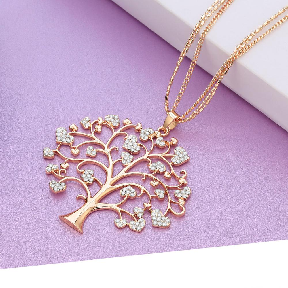 New Big Tree of Life Quality Full Crystal Heart Pendant Necklace Gold  Silver Long Chain Sweater Necklace For Women dropshipping
