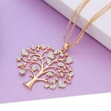 New Big Tree of Life Quality Full Crystal Heart Pendant Necklace Gold Silver Long Chain Sweater Necklace For Women dropshipping gorgeous heart life tree pendant necklace for women