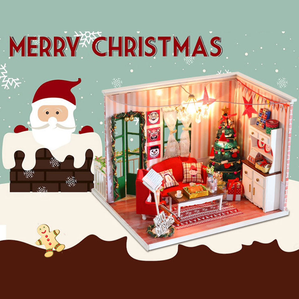 Christmas Diy Hand-assembled Model Gift Miniature Dollhouse Cottage Assembled Toy Children's Gifts Wooden Dollhouse diy dollhouse