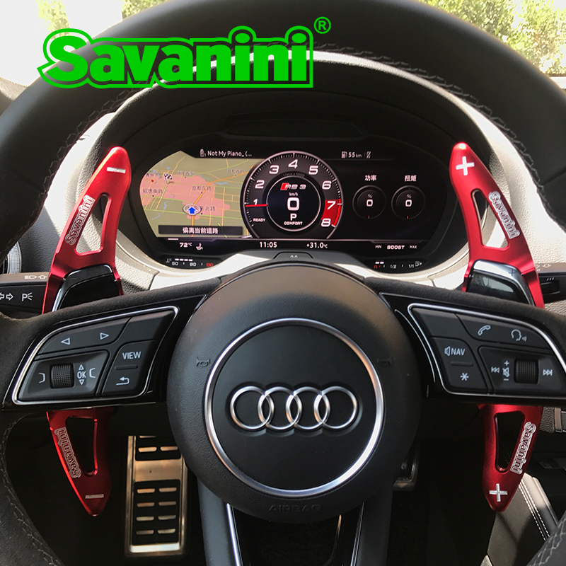 Savanini Aluminum Car Steering Wheel Shift Paddle Extension For New Audi R8 2016 2017 RS3 2017