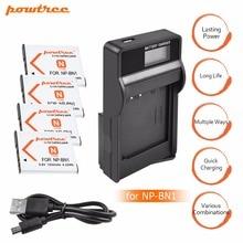 4x bateria NP-BN1 np bn1 NPBN1 battery + LCD USB charger for sony DSC WX220 WX150 DSC-W380 W390 DSC-W320 W630 camera L20