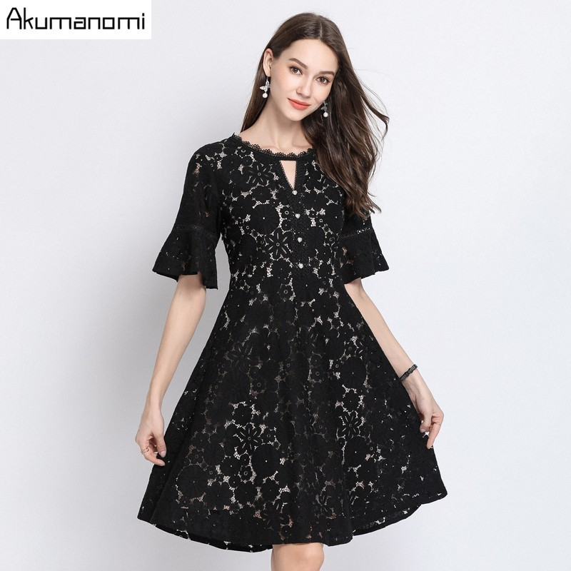 Summer Dress Women 2019 Plus Size Black Hollow out O neck Short Sleeve Lace Floral Party