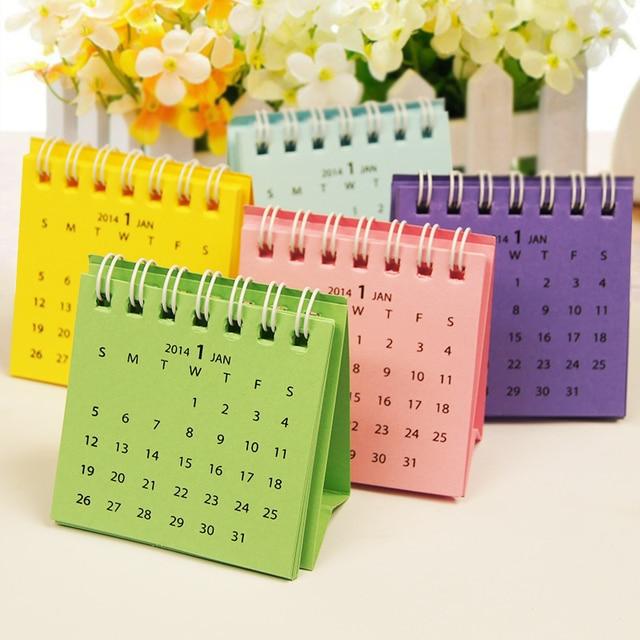 Diy Calendar Size : Mini multicolour small desk calendar pocket size