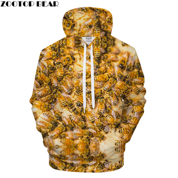 Bee Print Hoodies 3D Animal hoodie Men