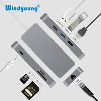 7 in 1 Thunderbolt 3 USB C to HDMI Rj45 Fast Ethernet Adapter USB Type C Hub Dock Dongle with Power Delivery for Macbook HUAWEI